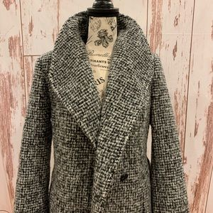 COLE HAAN SIGNATURE COAT COLLARED LONG BELTED WOOL